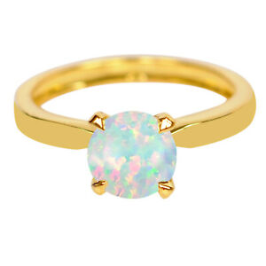 14KT Gold & 1.00Ct Round Cut AA Natural Australian Full Fire Opal Solitaire Ring