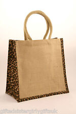 10 x Jute Medium shopping bag with animal print sides  - SPECIAL OFFER - Limited