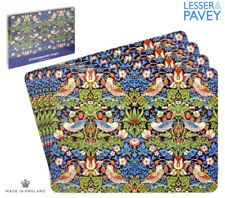 BLUE STRAWBERRY THIEF 4 x PLACEMATS William Morris BOXED Dining Table Plate Gold
