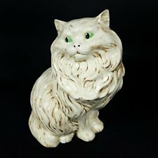 "Vintage 1984 14"" Ceramic Persian Cat Green Eyes Cat Figurine Animal Statue"
