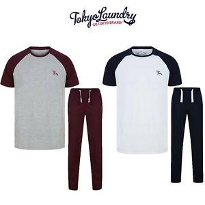 Men's Tokyo Laundry Lounge Wear Pyjama T-Shirt & Jogging Bottoms Set 100% Cotton
