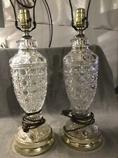 """Awesome 2-Vintage Cut crystal lamps. 26"""" Total Height. No Shades. Great Shape"""