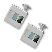 Sterling Silver Mother Of Pearl & Abalone Shell Cufflinks