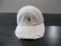 VINTAGE Ralph Lauren Polo Hat Cap Strap Back White Blue Pony Mens 90s A9*