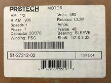 ProTech Motor, 1/2HP, 460V, 900 RPM, 1 Ph, CCW, 1/2 x 3.32 shaft, 51-27212-02