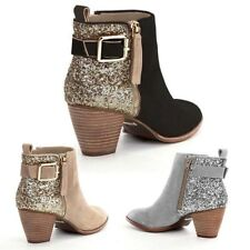 New Womens Ladies Suede Ankle Boots Block Heels Casual Sequins Gold Zip Shoes