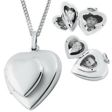 FOUR PART HEART LOCKET ON CHAIN STERLING SILVER HALLMARKED NEW FROM ARI D NORMAN