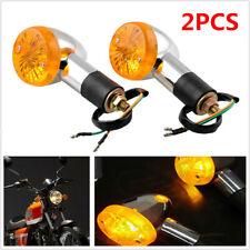 2Pcs Bullet Motorcycle Bikes Turn Signal Light Indicators Blinkers Amber Yellow