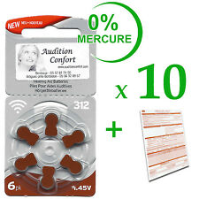 10 plaquettes de 6 piles auditives 312 (marron) RAYOVAC pour appareils auditifs