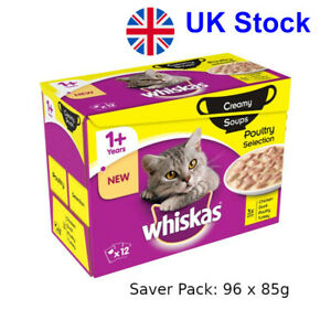 Saver Pack: 96 x 85g Whiskas 1+ Creamy Soup Poultry Selection For Adult Cats