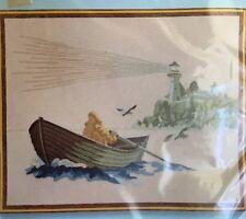 "Sunset Stitchery Kit Misty Morn 16""X20"" Lighthouse Nautical Row Boat Sailor New"