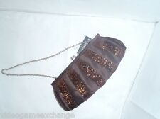 NWT Franchi Arden Brown Clutch With Beading