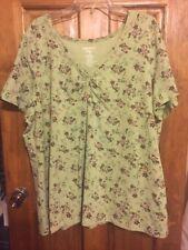 Women Ladies 26W/28W 4X SS Shirt ESSENTIALS by MAGGIE green floral Stretch GUC