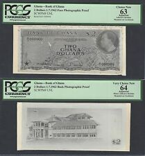 Ghana Face & Back 2 Dollars 1-7-1962  Pick Unlisted Photographic Proof