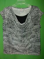 1090) CHICO'S EASYWEAR 1 black gray pullover polyester knit top relaxed fit 1