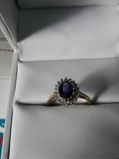 9ct Gold Amethyst And Diamond Cluster Ring Size K.1/2