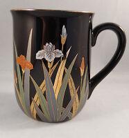 Otagiri Coffee Mug Japan Iris Flowers Black Gold Trim