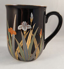 Otagiri Coffee Mug Japan Iris Flowers Black Gold Trim