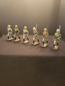 """6 LINEOL 7.5 cm composition  """"WW II GERMANS marching""""...RARE!!!!"""