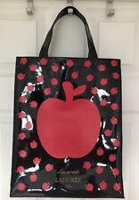 Laduree Paris Les Secrets Pomme Red Apple Black PVC Tote Shopper Hand Bag
