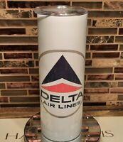 Delta Airlines vintage logo drinking tumbler mug.  Airplane pilot flight attenda