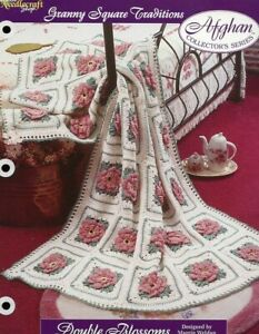 Double Blossoms Granny Square Afghan Crochet PATTERN Leaflet/NEW