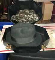 Vintage Stetson Fedora Black Men's Hat With Hard Shell Case