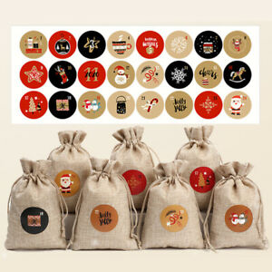 24Pcs/set Christmas Advent Countdown Calendar Stickers Numbers Bag Label Seals