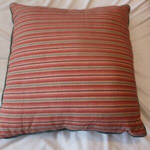 Square Throw pillow Red green striped  toss Cushion