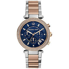 NEW AUTHENTIC MICHAEL KORS PARKER ROSE GOLD SILVER CRYSTALS WOMEN'S MK6141 WATCH
