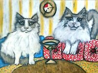 RAGDOLL drinking a Martini 11x14 Cat Art Picture Print of Painting Wall Decor