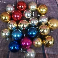 Vintage Round Glass Ornaments Christmas Bulbs Baubles Pink Blue Silver Gold Red