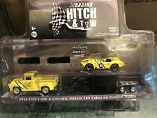 Greenlight  RACING HITCH & TOW  1954 Ford  Pickup   w/  Cobra  &  Trailer