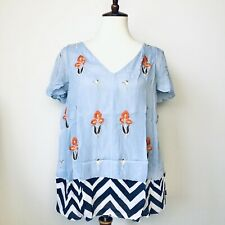 Floreat Anthropologie Blouse Size 8 Blue Rayon Lined Boho Floral Embroidered