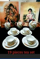 VINTAGE JAPANESE  COLLECTIBLE PORCELAIN DRAGONWARE MORIAGE TEA SET** no cracks**