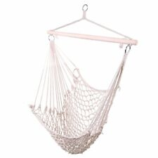 Cotton Rope Hammock Swing Camping Hanging Chair Wooden Beige White Outdoor Patio