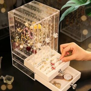 Portable Earrings Jewelry Storage Box Dustproof Ring Necklace Display Stand