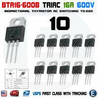 10pcs Thyristor BTA16-600 Triac BTA16-600B 16A 600V TO-220 USA
