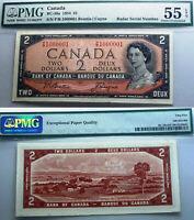 SCARCE 2 DIGIT RADAR 100001  BANK OF CANADA 1954 $2 BEATTIE / COYNE  PMG 55 EPQ