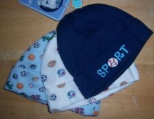 New Gerber 3 Pack Blue Baby Caps, Baby Shower Gift, Sports, Hat, 0-6 Months