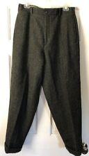 Vintage J Crew Men's Olive Herringbone Wool Dress Pants Cuffed Sz 33 x 37