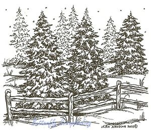 Winter Pine Trees & Fence Scene Wood Mounted Rubber Stamp NORTHWOODS M7671 New