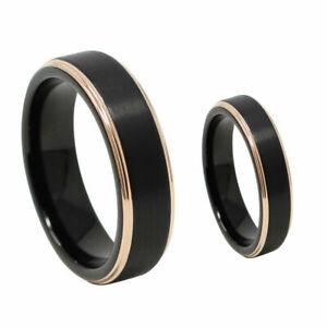 Free Engraving - Tungsten Carbide Black & Rose Step Edge Wedding Band Ring Set