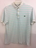 Lacoste  White Striped Short Sleeve Polo Croc Shirt Size 4