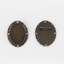 10pcs Oval Cameo Setting Blank Trays Safe Pin Brooch Base for 35x25mm Cabochon