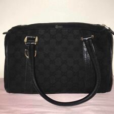 59ca2ab1eb2137 AUTHENTIC Gucci 130942 GG Canvas Leather Black Mini Boston Shoulder Satchel  Bag