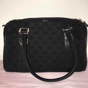 AUTHENTIC Gucci 130942 GG Canvas Leather Black Mini Boston Shoulder Satchel Bag
