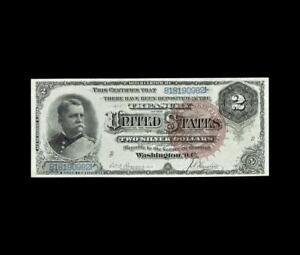 INCREDIBLE 1886 $2 SILVER CERTIFICATE HANCOCK ALMOST UNCIRCULATED
