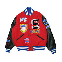 Mens Smoke Rise Old School Varsity Jacket Red
