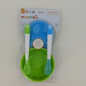 New Munchkin Love a Bowls 100% Spill Proof 4 Bowls 4 Lids and 2 Spoons